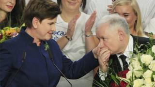Conservative Law and Justice leader Jaroslaw Kaczynski kisses hand Justice candidate for the Prime Minister Beata Szydlo.