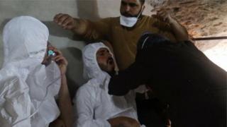 کیمیائی حملے کے شکار شامی باشندے