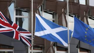 Union flag, saltire and EU flag