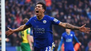 Leonardo Ulloa of Leicester City celebrates scoring against Norwich City