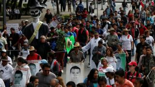 A march in Mexico City in June marking the 33rd month since the 43 students disappeared