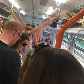 A packed South West Trains carriage