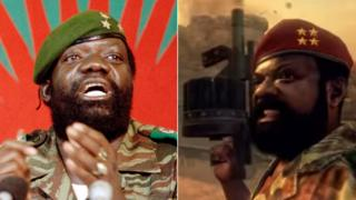 A composite showing Angolan rebel leader Jonas Savimbi and his depiction in the video game Call of Duty