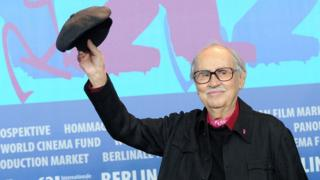 Vittorio Taviani after receiving the Golden Bear prize in Berlin in 2012.