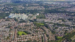 An aerial view of Cardiff