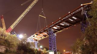 A bridge being erected