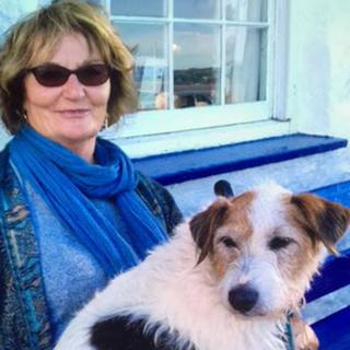 Toni Robinson with her Jack Russell dog Sweep