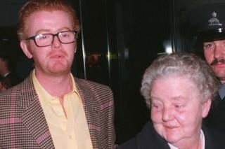 Chris Evans with his mother Minnie in 1996