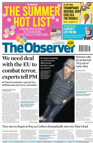 Observer front page - 28/05/17