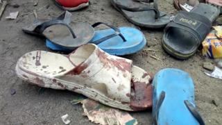 Bloody flip flop at scene of the 16 February attacks in Konduga, Nigeria
