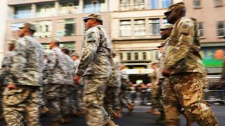 Members of the U.S. Army march in the nation's largest Veterans Day Parade in New York City on November 11, 2016 in New York City.