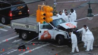A white pick-up truck mowed down people after entering the West St-Houston St pedestrian-bike path in Lower Manhattan on Tuesday afternoon, the New York Police Department says.