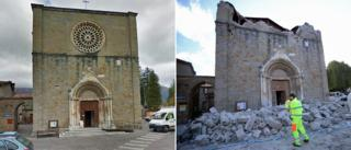 A church in Amatrice before and after it wasbadly damaged by an earthquake in central Italy - 24 August 2016