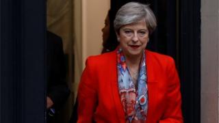 Firayi Ministar Burtaniya Theresa May tan barin ofishin jam'iyyar Conservative bayan zaben Burtaniya a Landan ranar 9 ga watan Yuni 2017