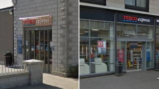 Tesco stores in Aberdeen and Glasgow