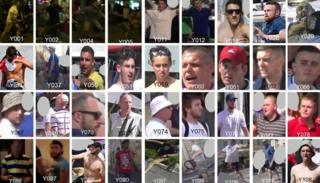 Composite of half of the 72 England football fans suspected of being involved in violence in Marseille,