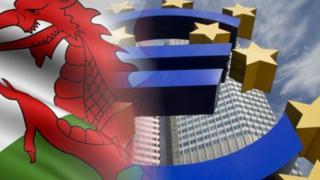Welsh flag and EU symbol
