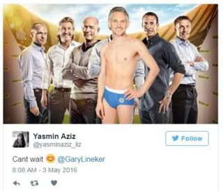 Yasmin Aziz tweets a photo of the presenters of Match of the Day with Gary Lineker in the front wearing blue pants. She says, 'cant wait Gary Lineker'.