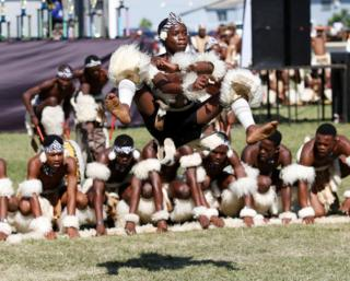 Contestants perform during the annual Ingoma traditional Zulu dance competition in Durban, South Africa.