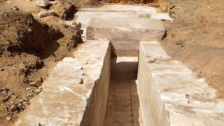 Kazılarda piramidin içine giden bir koridor bulundu