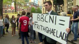 Cónall Ó Corra outside the BBC's Broadcasting House