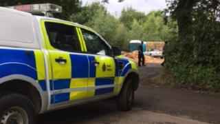 Police are at the site where a man was found dead