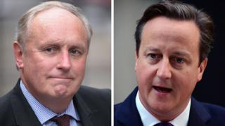 A composite image of Paul Dacre (left) and David Cameron (right)