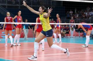 Natalia Pereira of Brazil celebrates