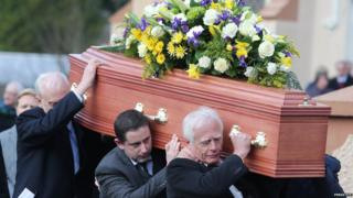 Pall bearers at Mr Flowerday's funeral
