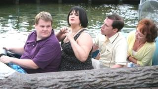 James Corden as Smithy, Ruth Jones as Nessa, Rob Brydon as Bryn and Melanie Walters as Gwen on the Barry Island log flume in Gavin and Stacey