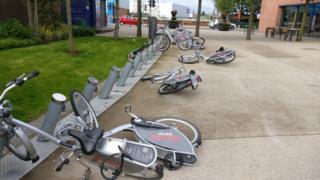 Belfast Bike vandalism at C S Lewis Square in east Belfast