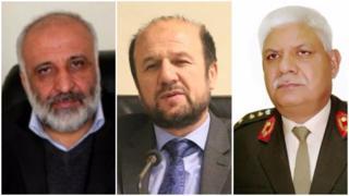 وزیر دفاع (راست)، وزیر کشور/داخله و رئیس امنیت ملی افغانستان