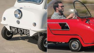 A white P50 three-wheeler and a red Peel Trident