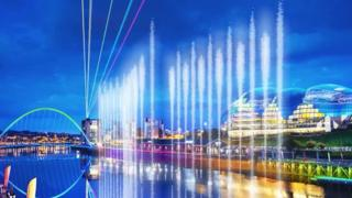 Artist's impression of the water fountain on the River Tyne