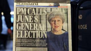 Newspaper announcing Theresa May calling election