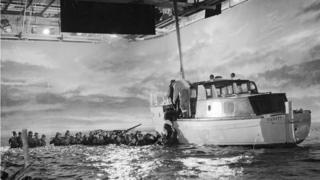 Scene being shot in the 1958 Dunkirk film