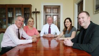 Martin McGuinness with Sinn Féin MLAs Máirtín Ó Muilleoir, Michelle O'Neill, Chris Hazzard and Megan Fearon