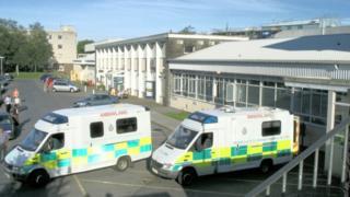 Ambulances outside Glangwili Hospital