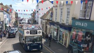 Open top bus in Lyme Regis