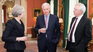 Michel Barnier with Theresa May and David Davis in Downing Street