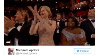 Twitter image of Kidman clapping