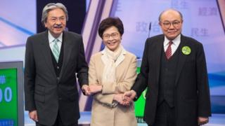 香港3名行政长官候选人曾俊华、林郑月娥及胡国兴出席电视辩论会,这是3人首次同台较量。