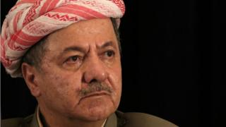 Massoud Barzani speaks during a press conference on 21 September 2017