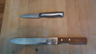 Police photo of two knives