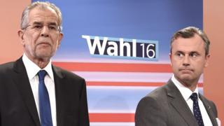 Alexander Van der Bellen (left) and Norbert Hofer