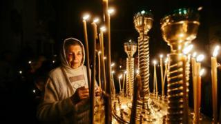 Великоднє богослужіння у Храмі-каплиці святої рівноапостольної княгині Ольги в Запоріжжі
