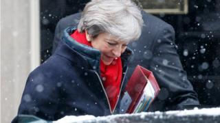 Theresa May in the snow