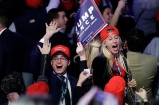 Pendukung Trump di pusat kampanye di New York bersorak melihat hasil pemilihan presiden
