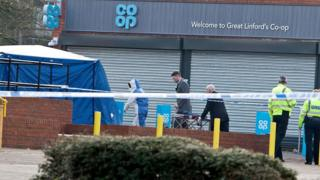 Police at murder scene in Great Linford