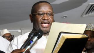 Julius Maada Bio taking the presidential oath in Freetown, Sierra Leone, 4 April 2018